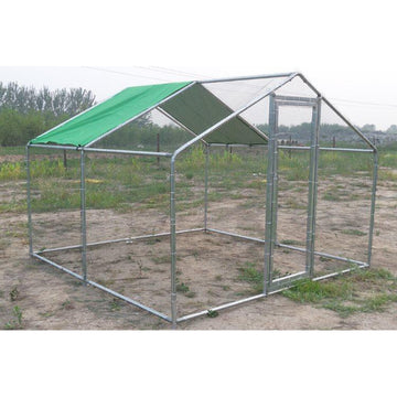 Chicken Run with Roof Galvanised Mesh 4mD x 4mW - CC012