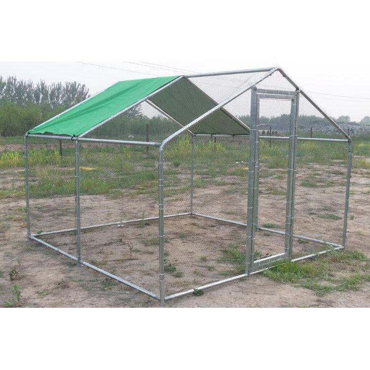 Chicken Run with Roof Galvanised Mesh 4mD x 2mW - CC009