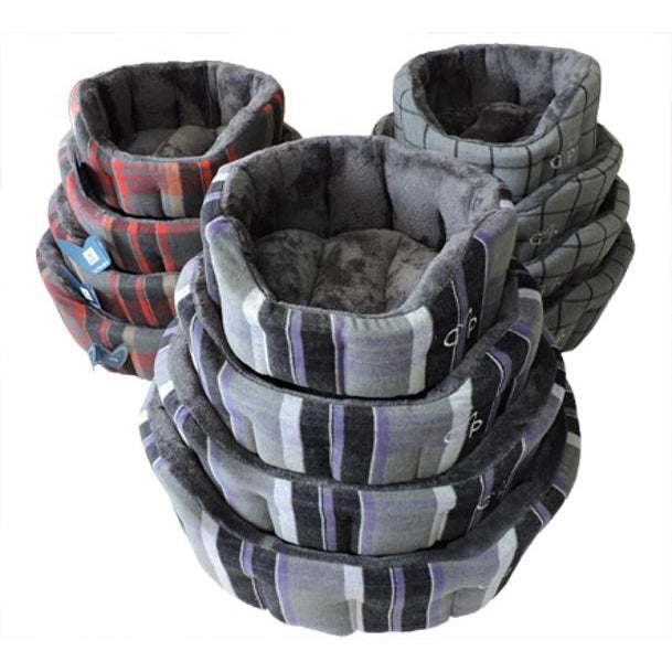 Gor Pets Camden Deluxe Dog Bed - Purple Check