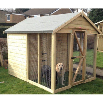 Kirkstall Country Chalet Dog Kennel with Front Run
