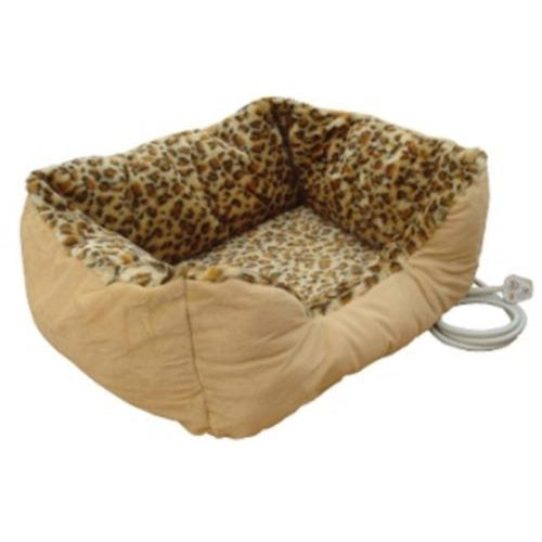 Heated Pet Bed Leopard Print