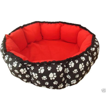 Red & Black Heated Round Pet Bed