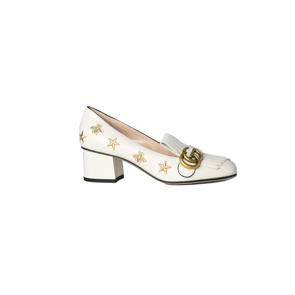 Embroidered Leather Mid-Heel Pumps Mystic White 50mm