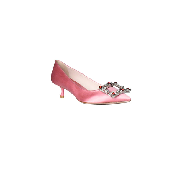 Roger Vivier Brochamour Heart Buckle Heels Light Pink 45mm