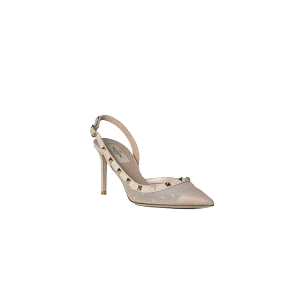 Valentino Studded Mesh Slingback Nude 85mm