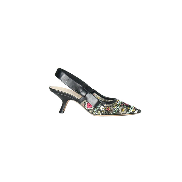 Dior Sweet-D Turquoise Embro Slingback Black 65mm