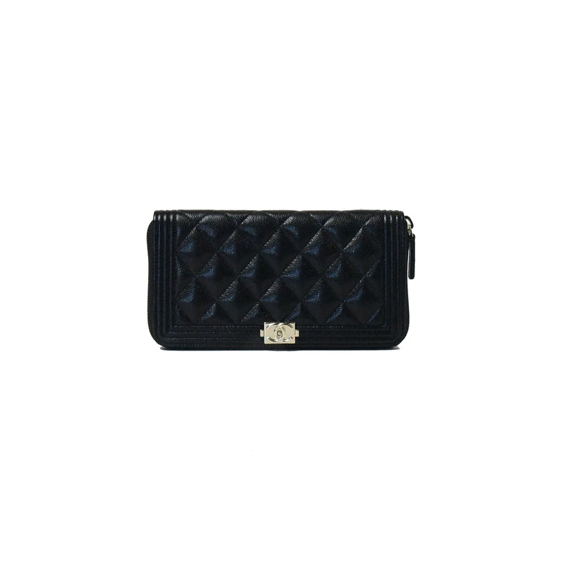 Chanel Leboy Caviar Zip Around Wallet Gold HW Black