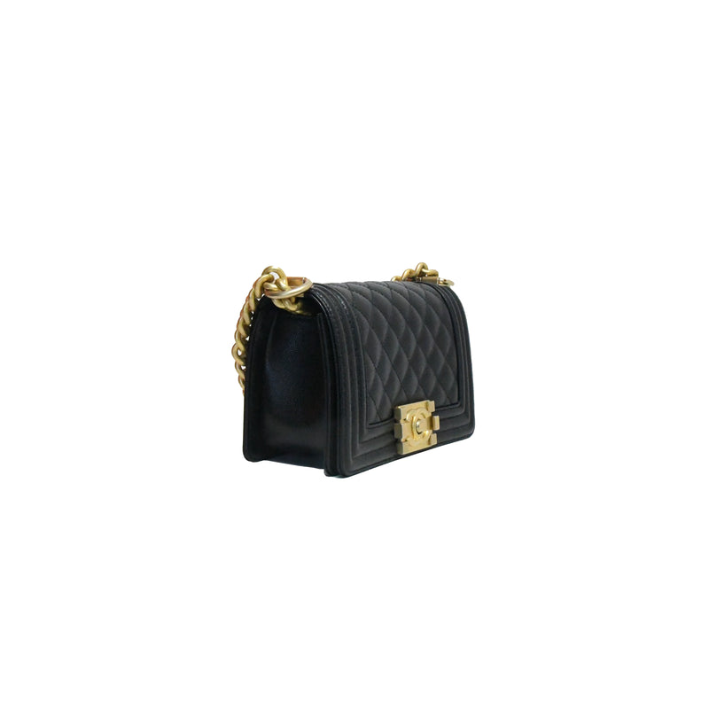Leboy Caviar Leather Small Gold Hardware Black