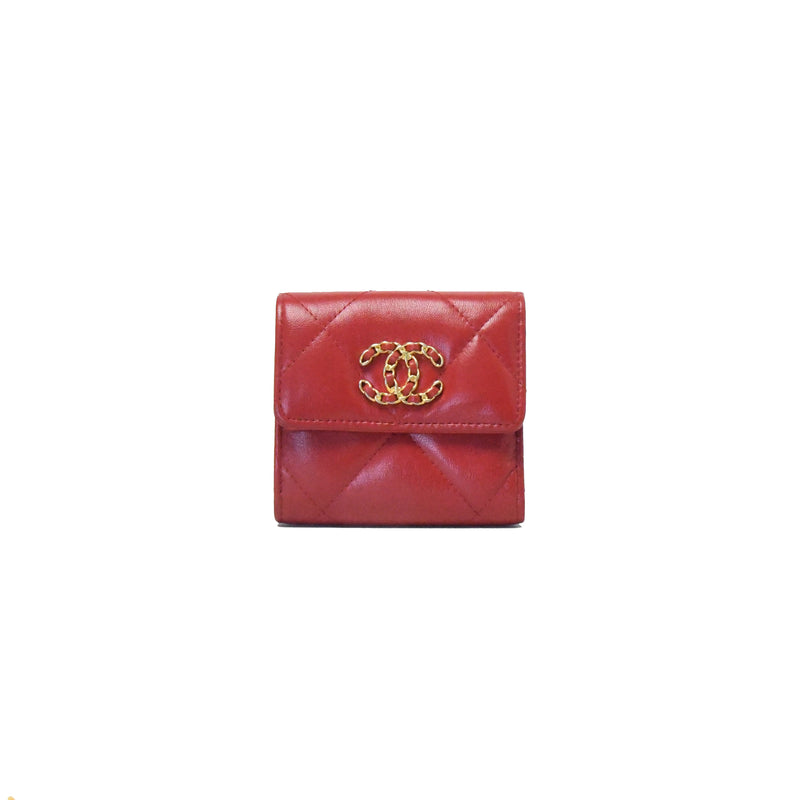 Chanel 19 Small Wallet Red