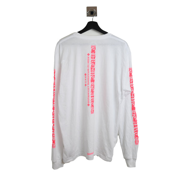 Chrome Hearts Neon Pink Vertical Stripe Long Sleeve T-shirt White