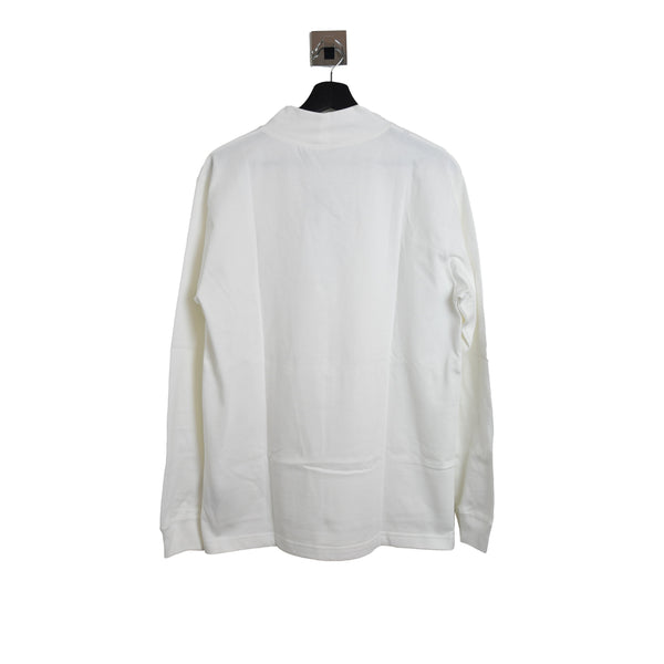 Dior x Jordan Embroidered Logo Turtle Neck Long Sleeve Tee White