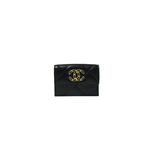 Chanel 19 Small Flap Wallet Black