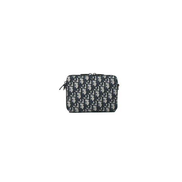 Dior Oblique Jacquard Pouch with Shoulder Strap Beige Black