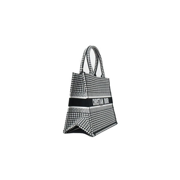 Dior Houndstooth Embroidery Small Book Tote Black and White
