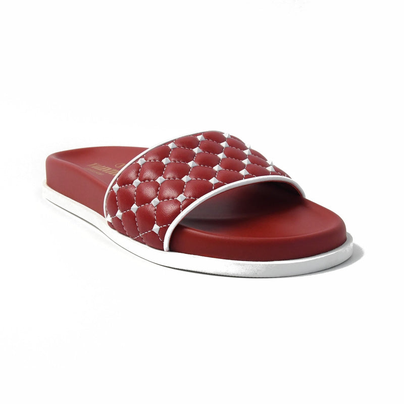 Quilted Studded Slider Red