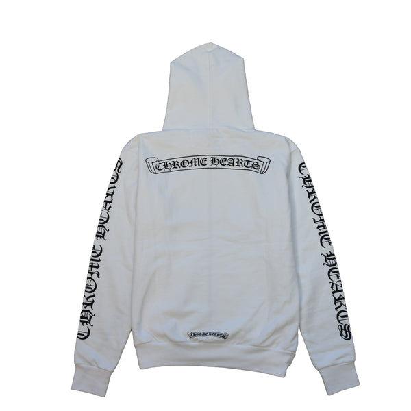 Scroll Logo Chrome Hearts Sleeve Zip Up Hoodie White