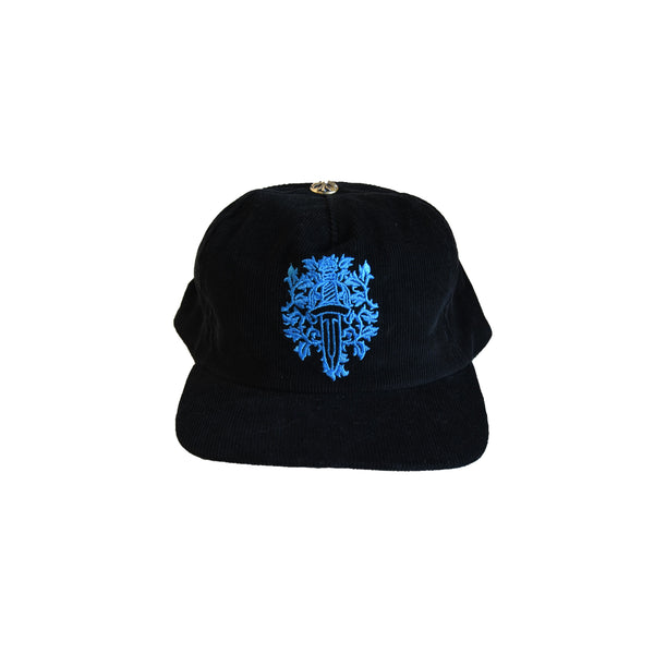 Chrome Hearts Dagger Blue Embroidered Corduroy Hat Black