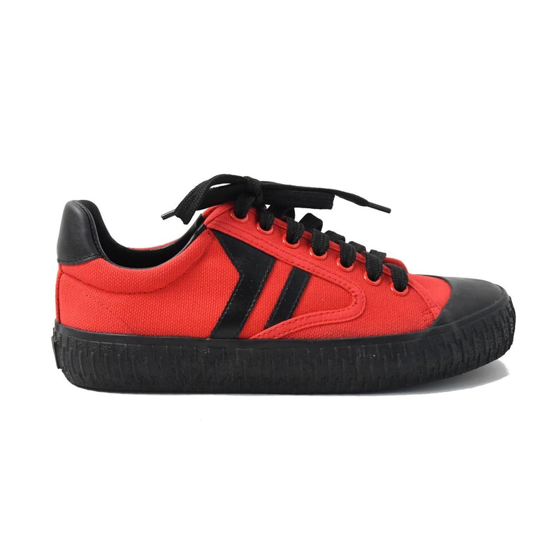 Plimsole Lace Up Sneaker Canvas Red/Black
