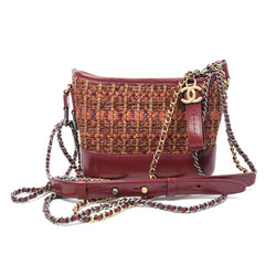 Chanel Small Gabrielle Tweed Leather Red Orange