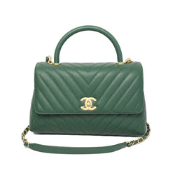 Chanel Chevron Caviar Small Coco Handle Leather Bag Green