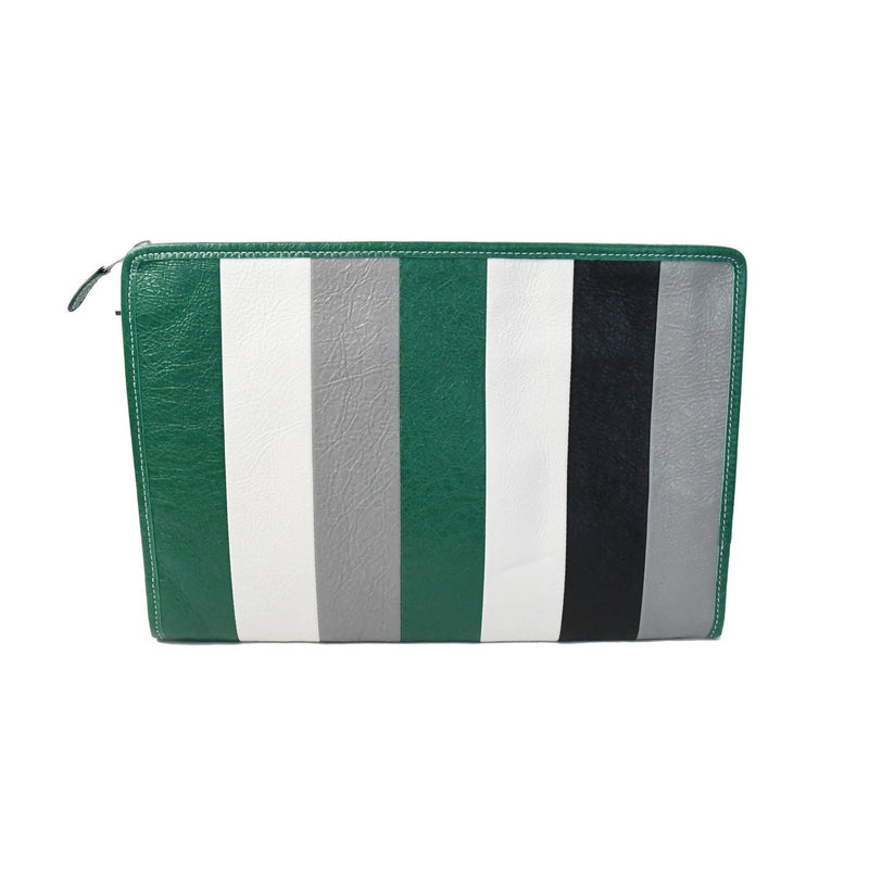 Balenciaga Envelope Leather Clutch Green Grey White Black Stripes