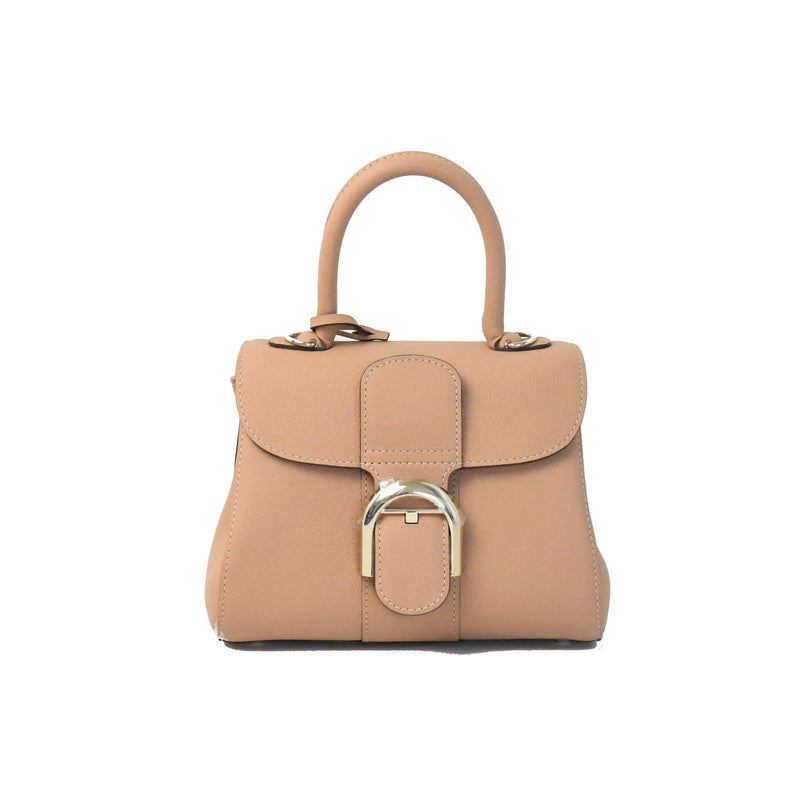 Delvaux Caviar Calfskin Handbag Milk Tea Brown