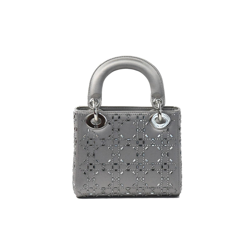 Mini Ladydior Metallic Leather Silver