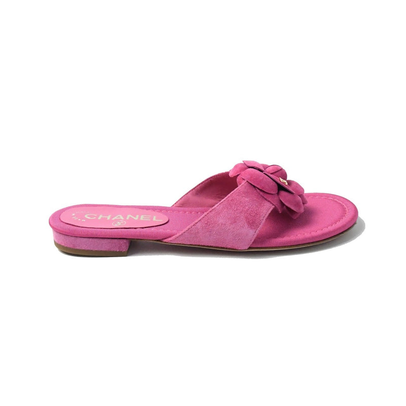 Suede Thongs Flat Sandals Pink