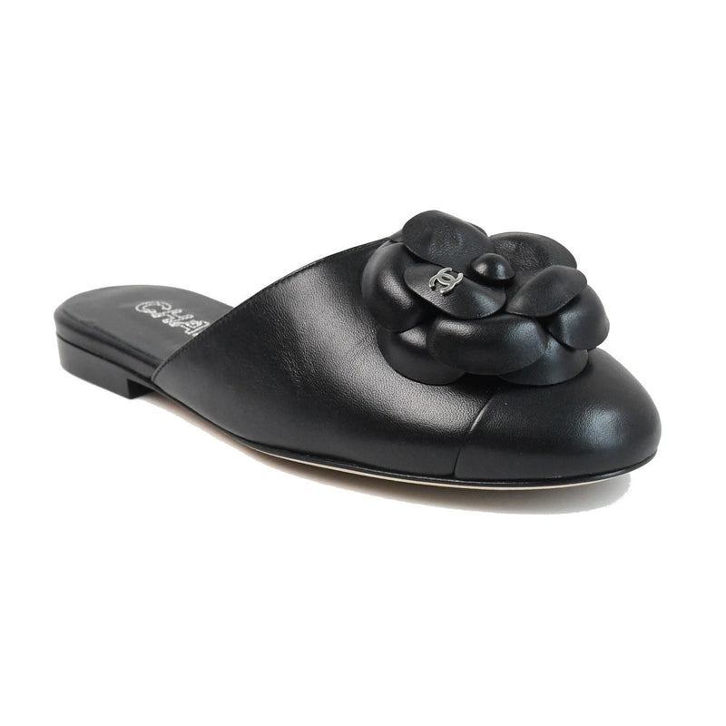 Flower Lambskin Mules Black