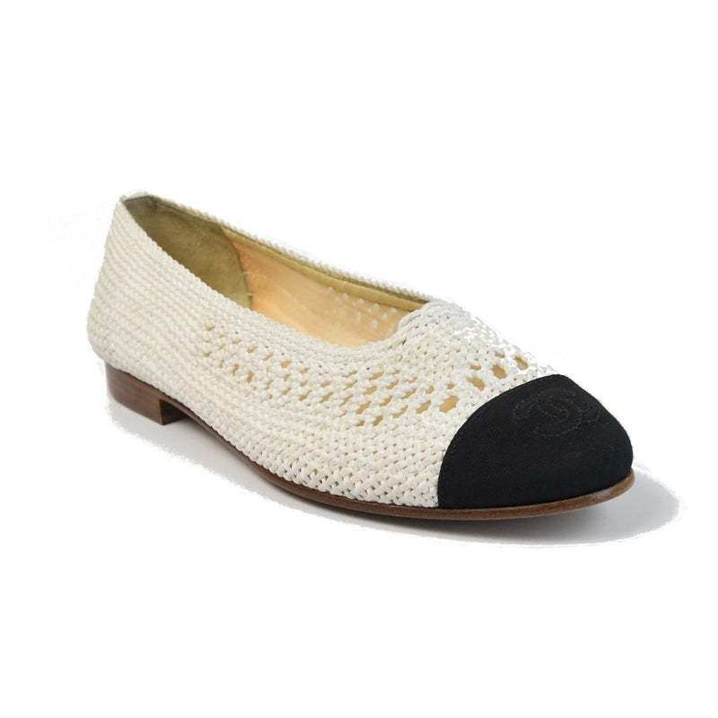 Fabric Grosgrain Flats Ivory Black