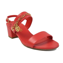 Block Heel Lambskin Strap Sandals Red