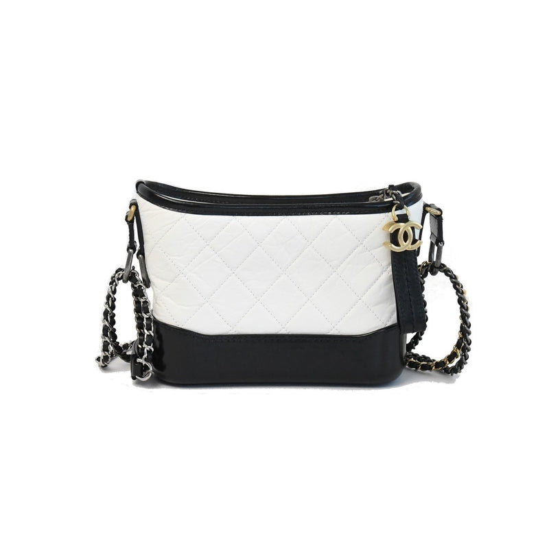 Chanel Leather Small Gabrielle White Black