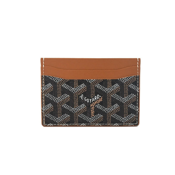 Goyard  Classic Pattern Leather Card Holder Brown