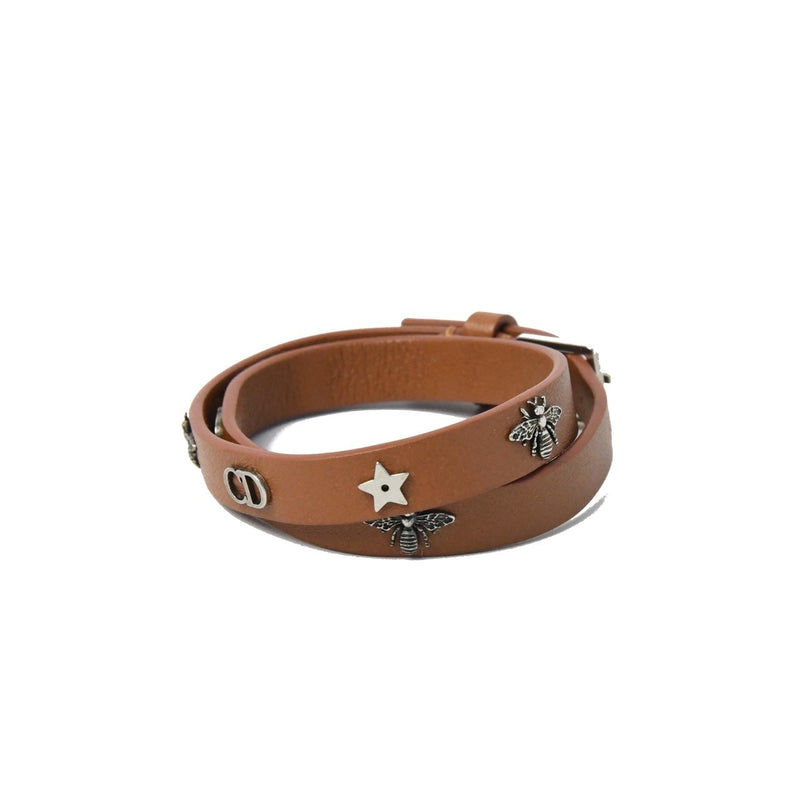 Dior Charms Pendants Leather Bracelet Brown