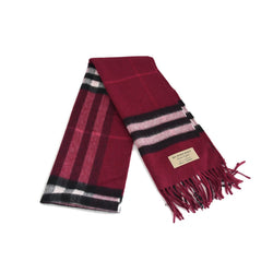 Check Wool Scarf Plum