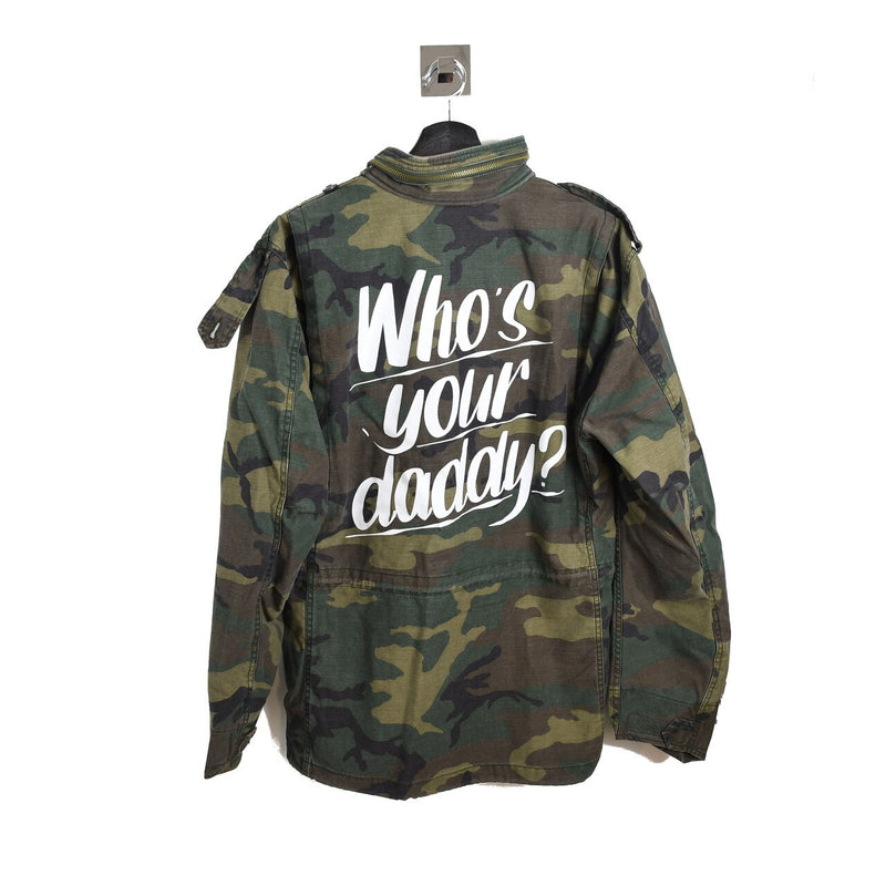 Camouflage Print Who's Your Daddy Caption Jacket