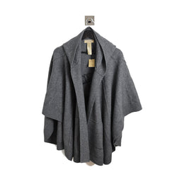 Henry Moore Knitted Poncho Wool Cashmere Mid Grey