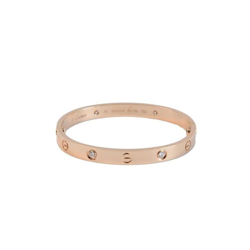Pink Gold Cartier Love Bracelet 4 Diamonds Size 16 cm