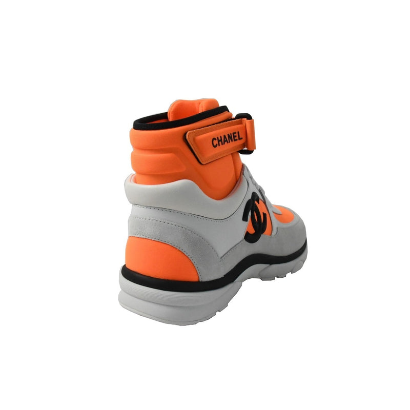 Chanel Sneaker Calfskin/Lambskin White Fluo Orange