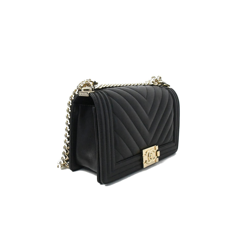 Chanel Old Medium Chevron Leboy Gold HW Black
