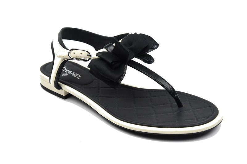 Thongs Lambskin /White-Black