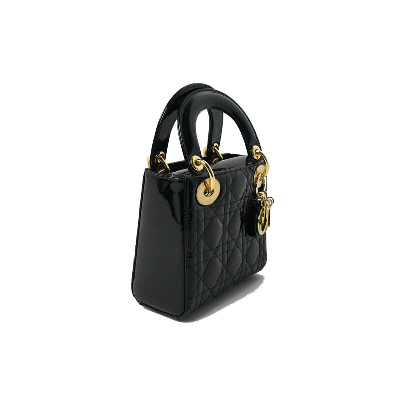 Mini LadyDior Cannage Chained Strap Calfskin Black