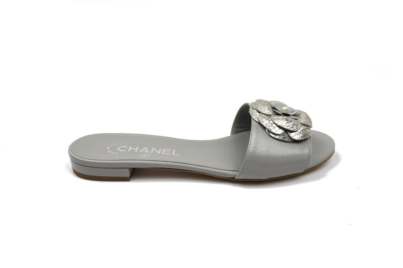 Mules Calf-Python Slipper /Grey-Silver