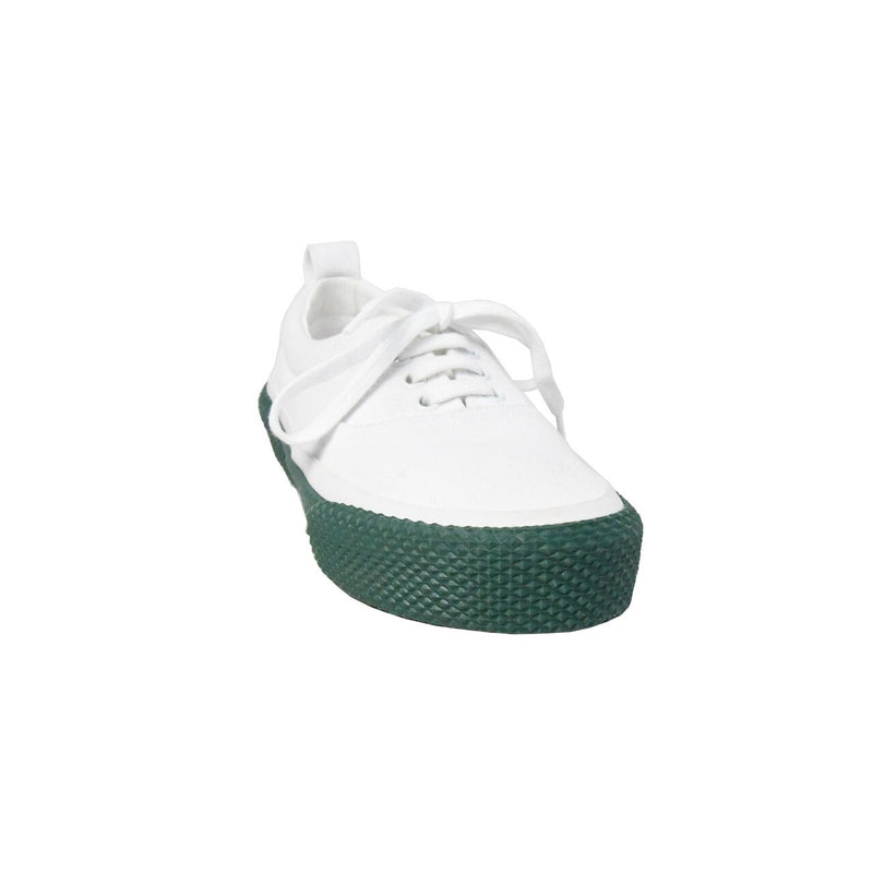 New Skate Canvas Lace Up Sneaker White Green Sole