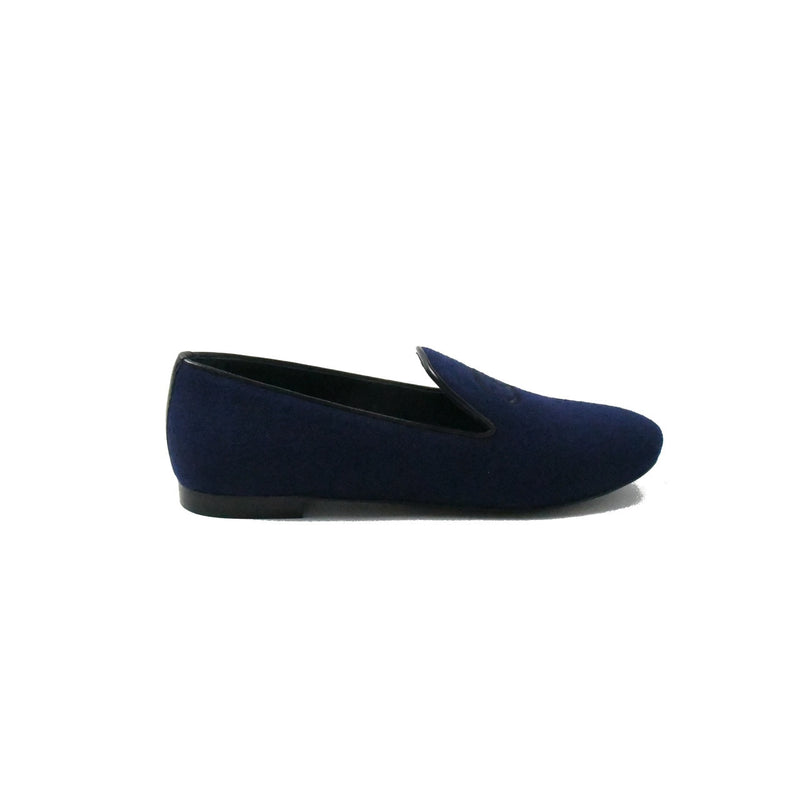 Mocassins Loafers Fabric Lambskin Dark Blue