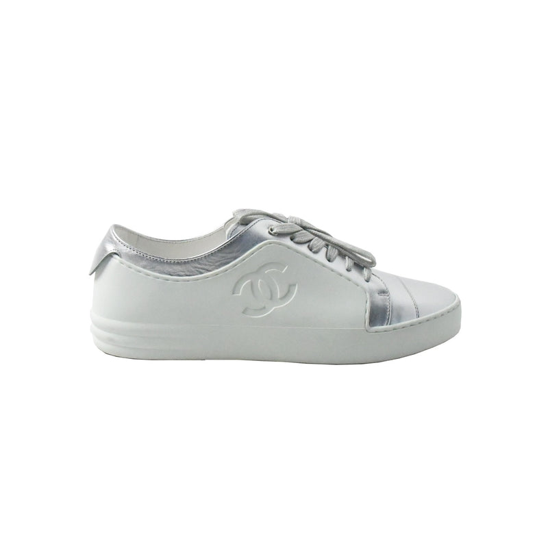 Iridescent Calfskin Sneakers Silver White