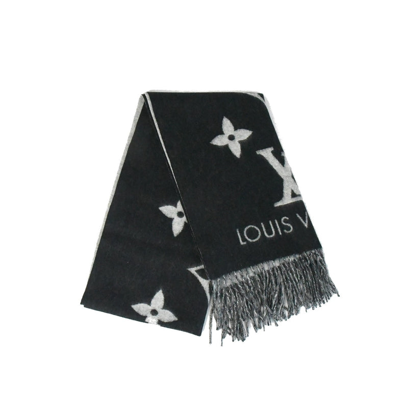 LV Double Sided Large Scarf Black Grey