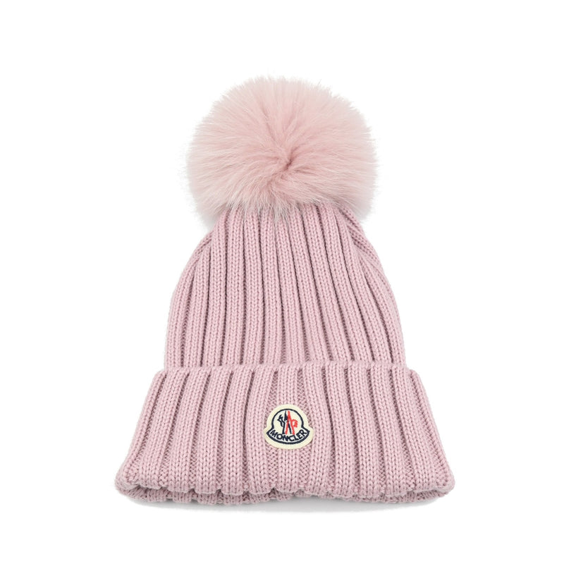 Virgin Wool Knit Beanie /Pink Fox Fur