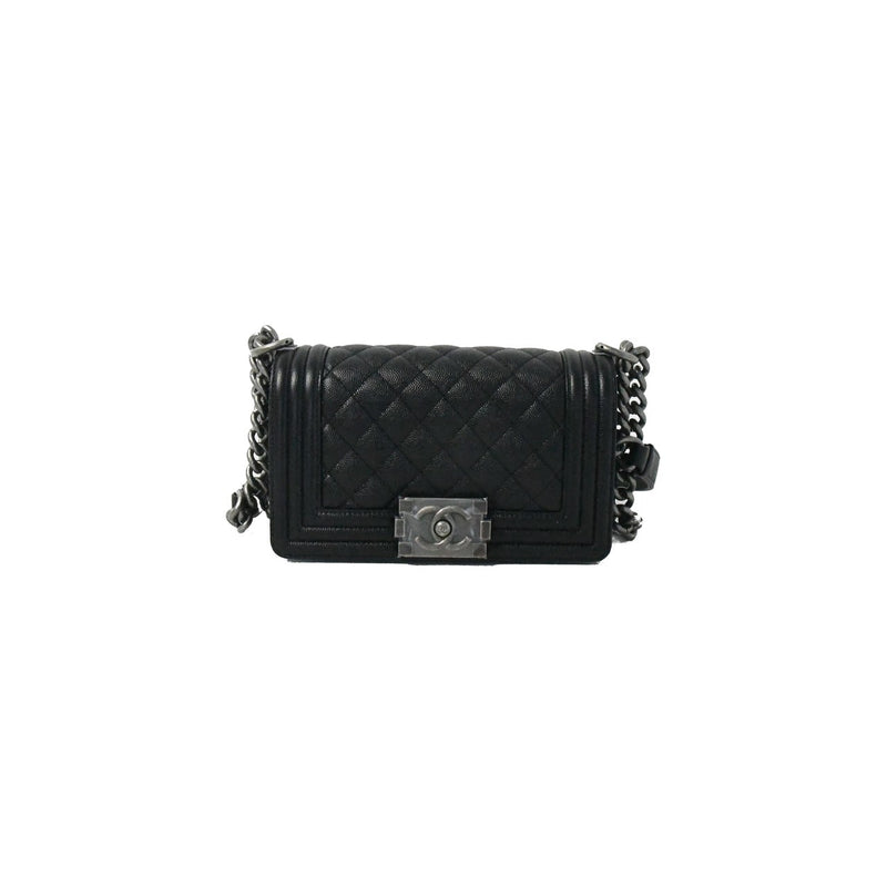 Leboy Caviar Leather Small Silver Hardware Black