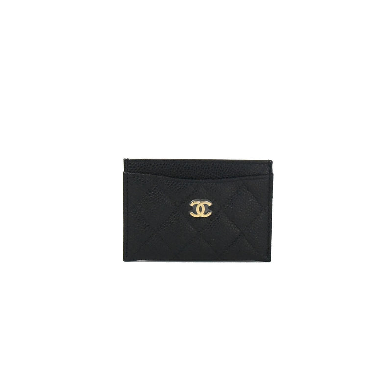 Classic Caviar Leather Card Holder Gold HW Black